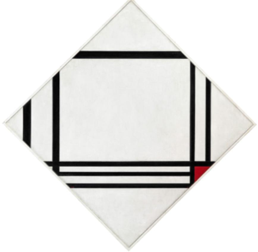 Piet Mondrian. Composición en rombo con ocho líneas y rojo (Pintura nº III), 1938. Fondation Beyeler