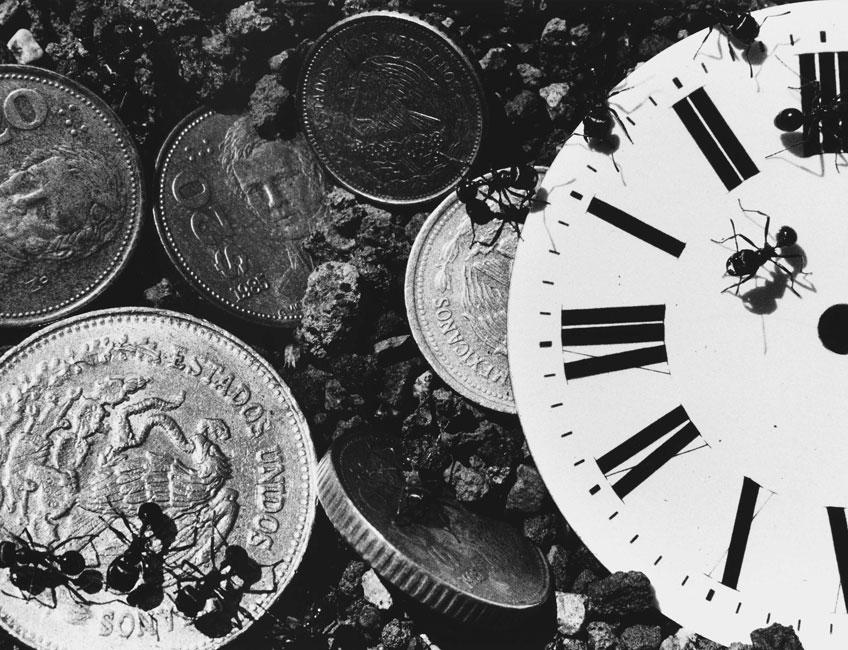 David Wojnarowicz. Sin título (Tiempo y dinero), de la serie Hormiga, 1988-1989