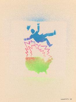 David Wojnarowicz. Sin título (Hombre que cae y mapa de los EE.UU), 1982