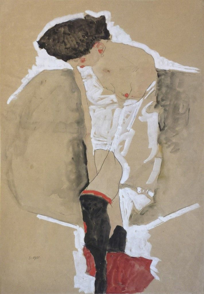 Egon Schiele. Standing female in shirt with black stockings and red scarf, 1911