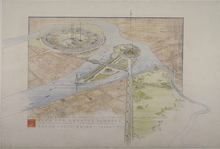 Plan for Greater Baghdad. Unbuilt project. 1957-58. 34 7/8 × 52″ (88.6 × 132.1 cm). The Frank Lloyd Wright Foundation Archives (The Museum of Modern Art | Avery Architectural & Fine Arts Library, Columbia University, New York).