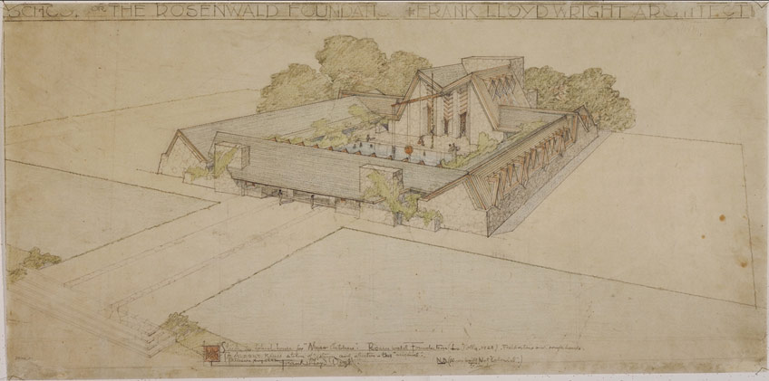 """Rosenwald Foundation School (La Jolla, California). Unbuilt Project. 1928. Pencil and color pencil on tracing paper. 12 3/4 x 25 7/8"""" (32.4 x 65.7 cm). The Frank Lloyd Wright Foundation Archives (The Museum of Modern Art 
