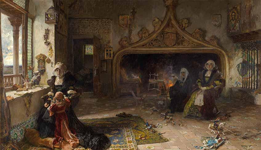 Francisco Pradilla y Ortiz. La reina doña Juana la Loca, recluida en Tordesillas con su hija, la infanta doña Catalina, 1906 Madrid, Museo Nacional del Prado