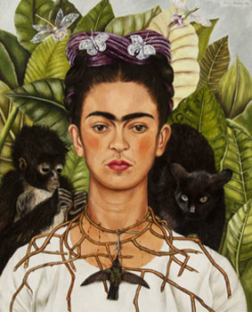 Frida Kahlo. Selfportrait with thorn necklace, 1940. Harry Ransom Center, The University of Texas at Austin, Nickolas Muray Collection of Modern Mexican Art © Banco de México Diego Rivera Frida Kahlo Museums Trust/VG Bild-Kunst, Bonn 2020