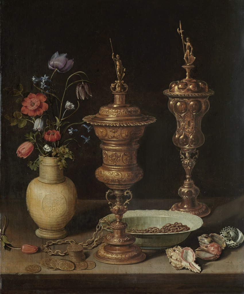 Clara Peeters. Bodegón con flores, copas doradas, monedas y conchas, 1612. Karlsruhe, Staatliche Kunsthalle