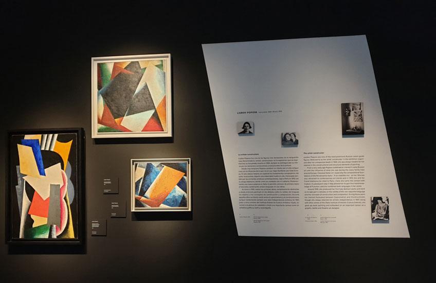 """Vista de la exposición """"PIONERAS. Mujeres artistas de la vanguardia rusa"""" en el Museo Nacional Thyssen-Bornemisza"""