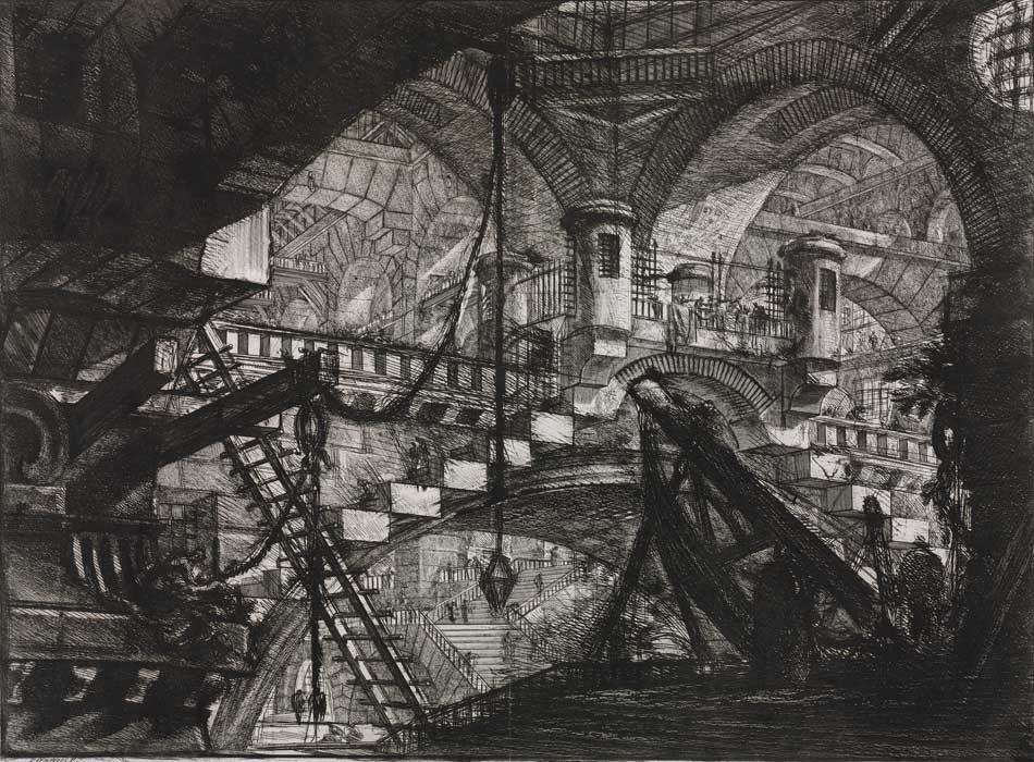 Giovanni Battista Piranesi. Interior de prisión con las dos garitas