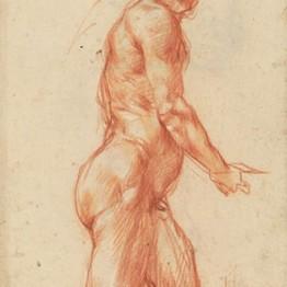 Jacopo Pontormo. Figura masculina desnuda, arrodillada, probable modelo para la figura de San Juan de una Piedad. Gabinetto Disegni e Stampe degli Uffizi, Florencia