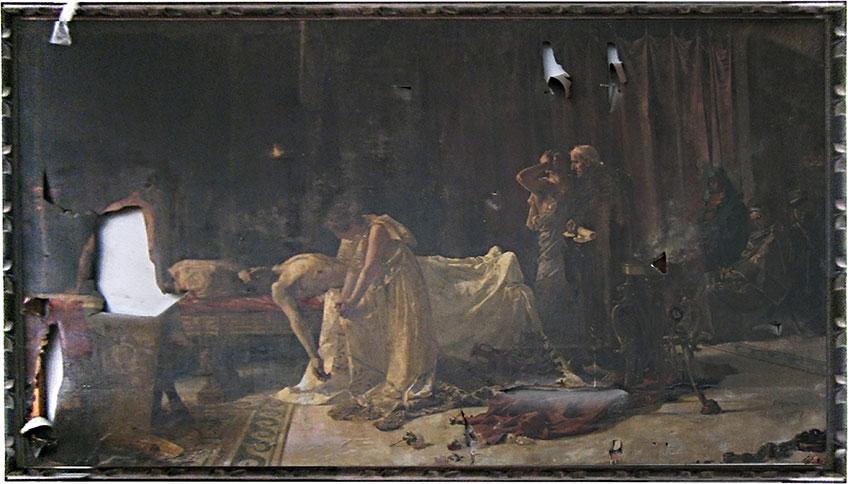 José Garnelo y Alda. La muerte de Lucano (antes de la restauración), 1887. Museo Nacional del Prado