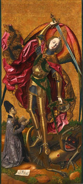 Bartolomé Bermejo. San Miguel triunfante sobre el demonio con Antoni Joan, 1468. The National Gallery, Londres