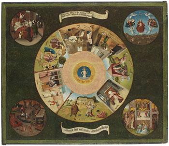 El Bosco. Mesa de los Pecados Capitales, 1505-1510. Museo Nacional del Prado. Óleo sobre tabla de madera de chopo, 119,5 x 139,5 cm.