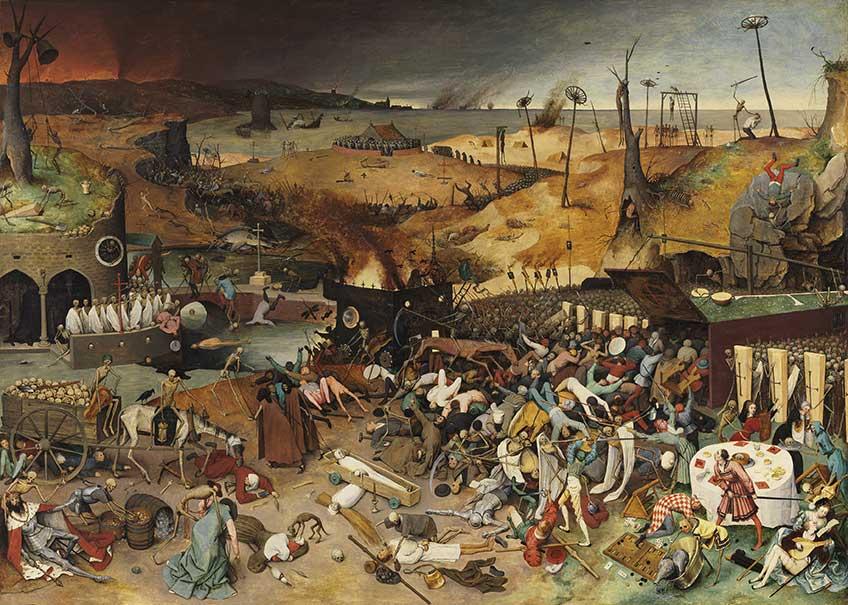 Pieter Bruegel el Viejo. El triunfo de la Muerte, 1562 – 1563 tras la restauración. Museo Nacional del Prado, Madrid