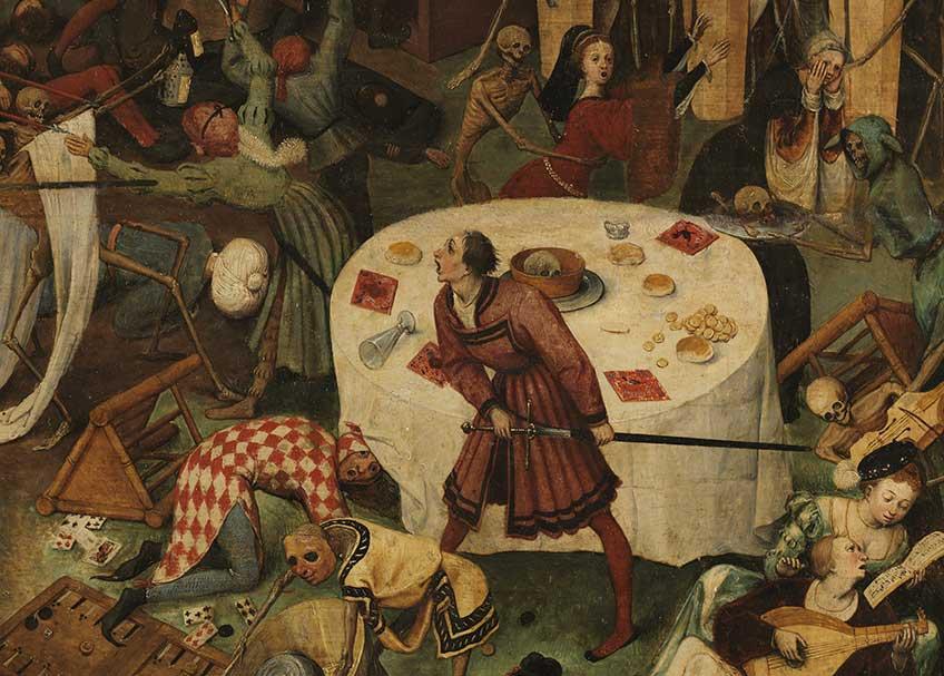 Pieter Bruegel el Viejo. El triunfo de la Muerte, 1562 – 1563. Detalle de la obra antes de la restauración. Museo Nacional del Prado, Madrid