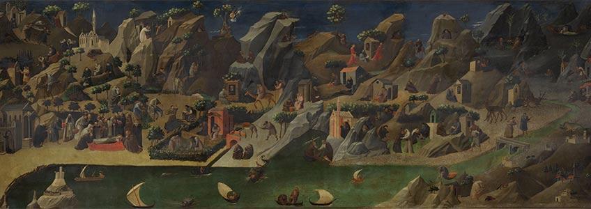 Fra Angelico. Historias de los padres del desierto. Temple y oro sobre tabla, 75 x 207 cm h. 1419 - 1420 Florencia, Gallerie degli Uffizi
