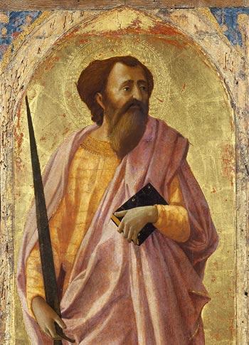 Masaccio. San Pablo. Temple y oro sobre tabla, 60 cm 1426. Pisa, Polo Museale della Toscana, Museo Nazionale di San Matteo