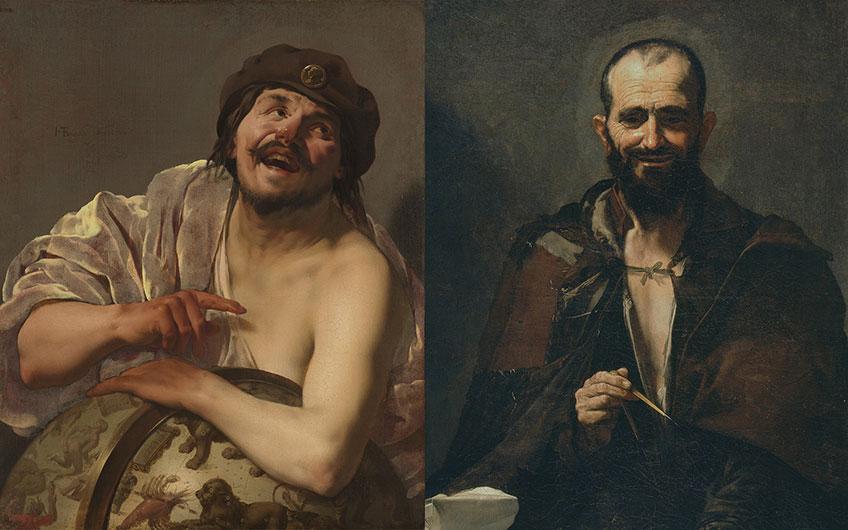 Diego Velázquez. Menipo, h. 1638. Rembrandt. Autorretrato como el apóstol san Pablo, 1661 (arriba). Hendrick ter Brugghen. Demócrito, 1628. José de Ribera. Demócrito, 1630