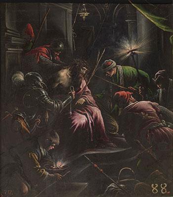 Leandro Bassano. La Coronación de espinas. Óleo sobre pizarra, 54 x 49 cm | 63 x 57 x 5 cm (con marco), 1590 - 1598. Madrid, Museo Nacional del Prado