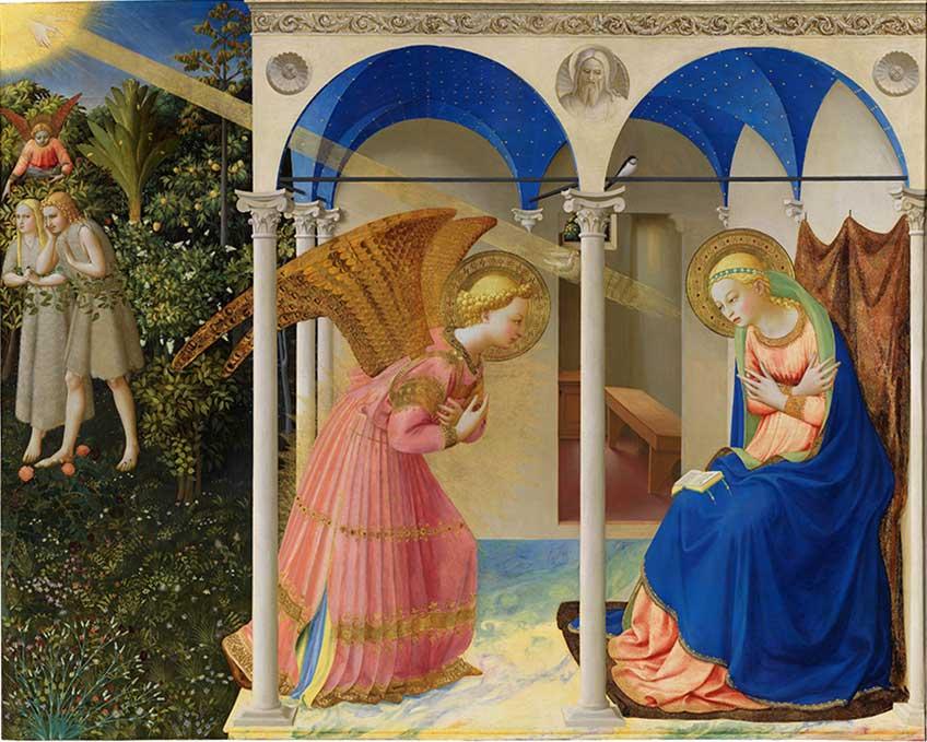La Anunciación y la expulsión de Adán y Eva del jardín del Edén (después de la restauración) FRA ANGELICO Temple y oro sobre tabla, 190,3 x 191,5 cm; 162,3 x 191,5 cm c. 1425-26 Madrid, Museo Nacional del Prado