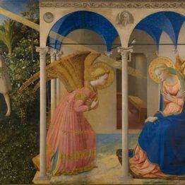 La Anunciación y la expulsión de Adán y Eva del jardín del Edén (antes de la restauración) FRA ANGELICO Temple y oro sobre tabla, 190,3 x 191,5 cm; 162,3 x 191,5 cm c. 1425-26 Madrid, Museo Nacional del Prado