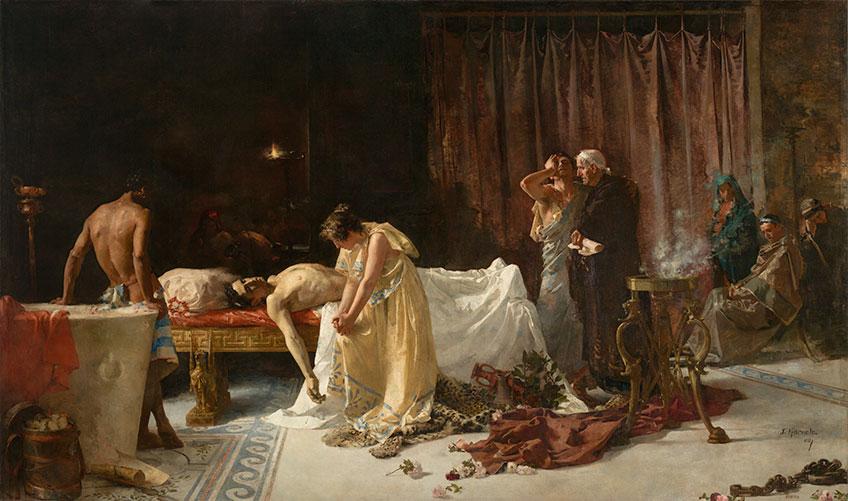 José Garnelo y Alda. La muerte de Lucano (después de la restauración), 1887. Museo Nacional del Prado