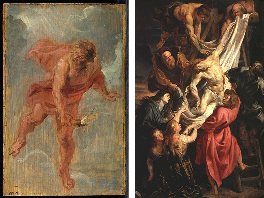 Exposición de bocetos de Rubens en el Museo del Prado. En la imagen: Prometeo y Descendimiento