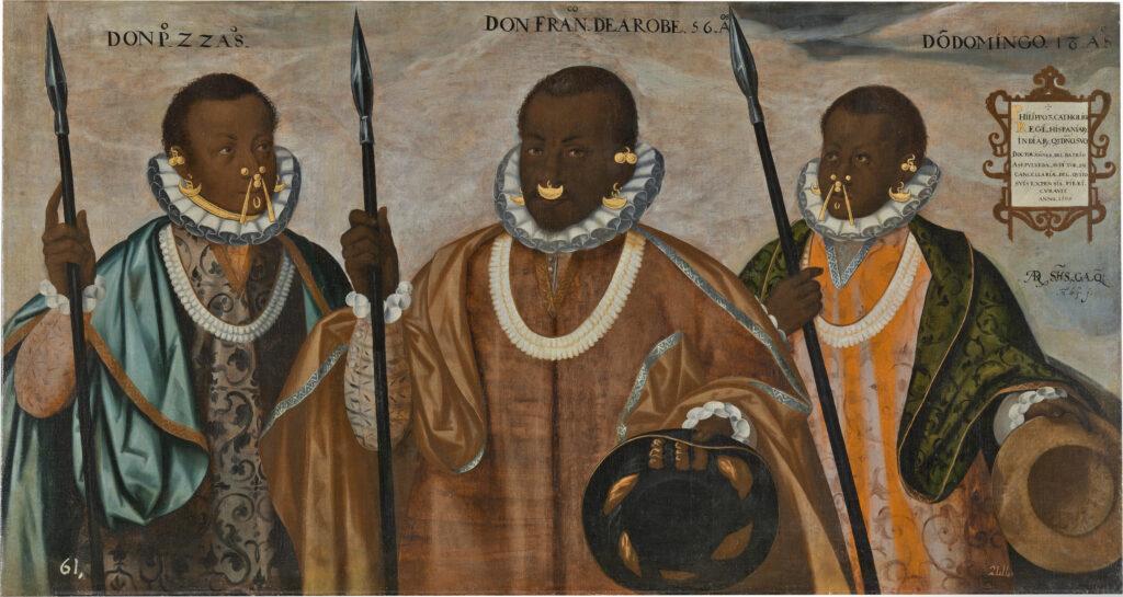 Andrés Sánchez Galque. Los tres mulatos de Esmeraldas, 1599. Museo de América. Depósito del Museo Nacional del Prado