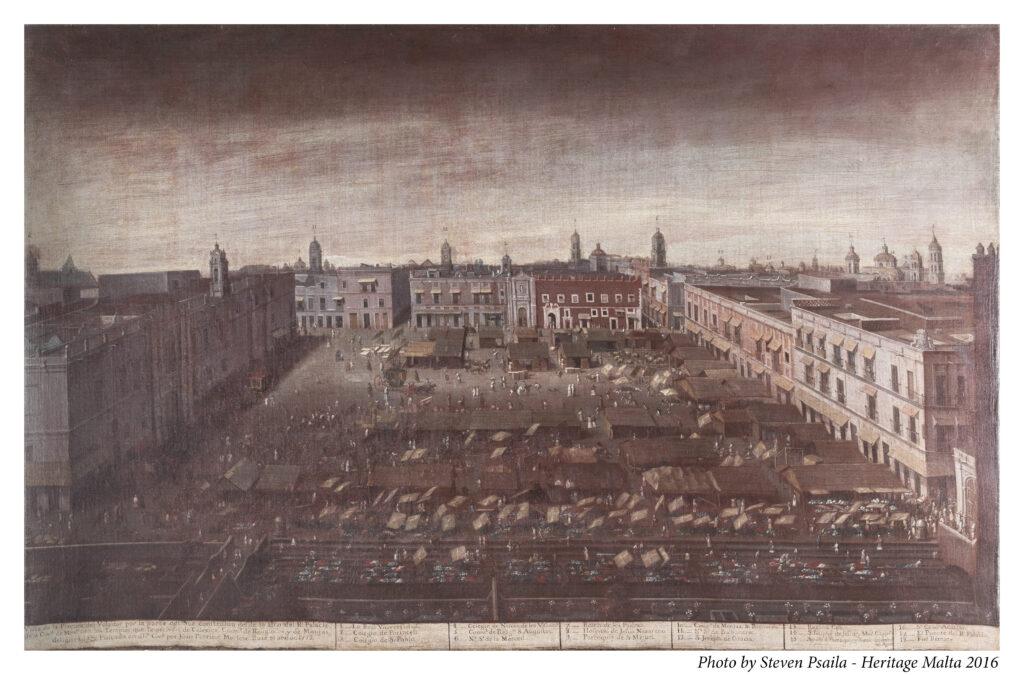 Juan Patricio Morlete Ruiz. Plaza del Volador de la Ciudad de México, 1772. Cortesía de Heritage Malta – San Anton Palace