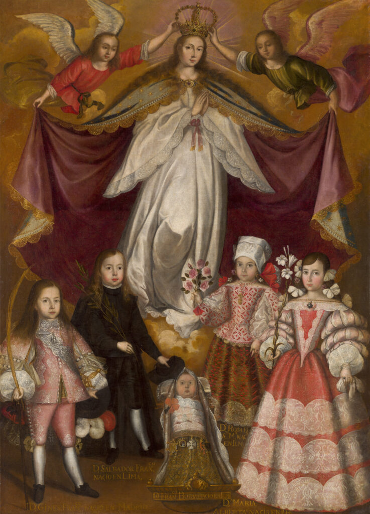 Obrador de Francisco de Escobar. Patrocinio de la Inmaculada sobre los hijos del virrey Conde de Lemos, hacia 1672. Monasterio de Santa Clara, Monforte de Lemos