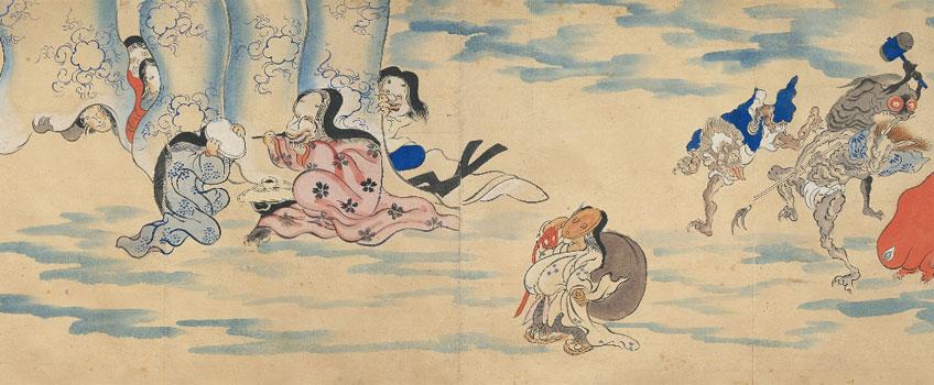 Rollo ilustrado del desfile nocturno de los cien demonios (detalle). Periodo Edo, siglo XIX. Miyoshi City