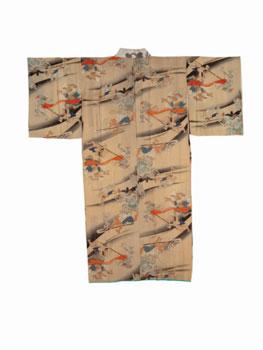 Kimono con motivos del desfile nocturno de los cien demonios. Periodo Edo en adelante, siglos XIX-XX. Miyoshi City