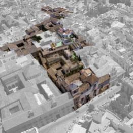 Vista aérea de la antigua judería de Sevilla desde el Oeste