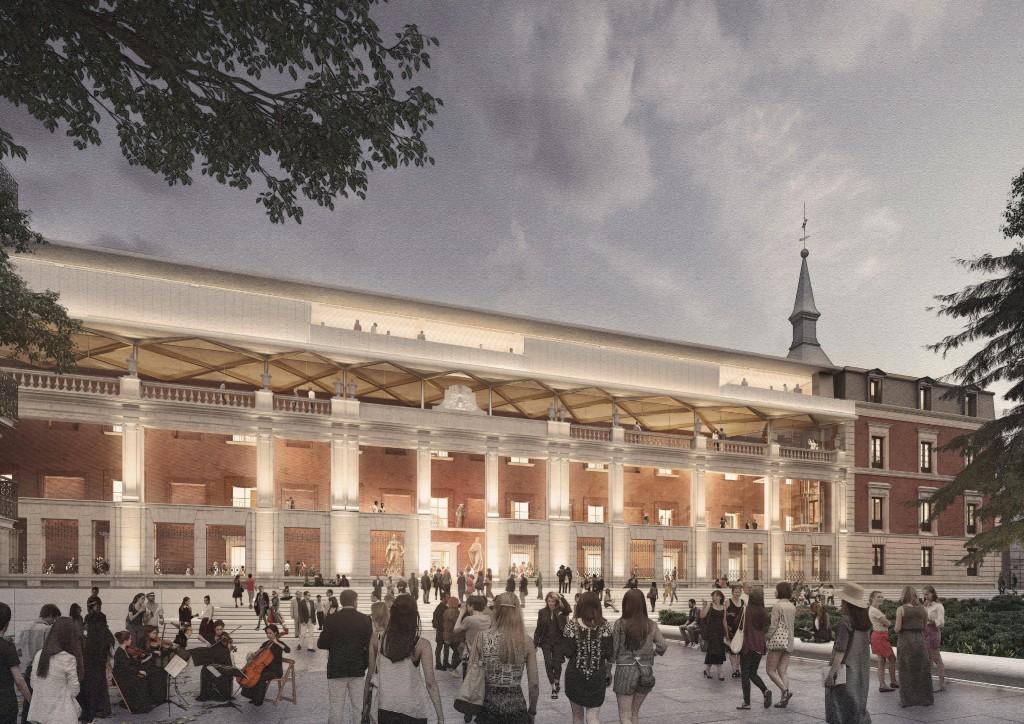 Norman Foster y Carlos Rubio ganan el concurso de rehabilitación del Salón de Reinos, y la ampliación del Museo del Prado. Interior de la galería- atrio de la fachada Sus. Vista de la nueva entrada Sur