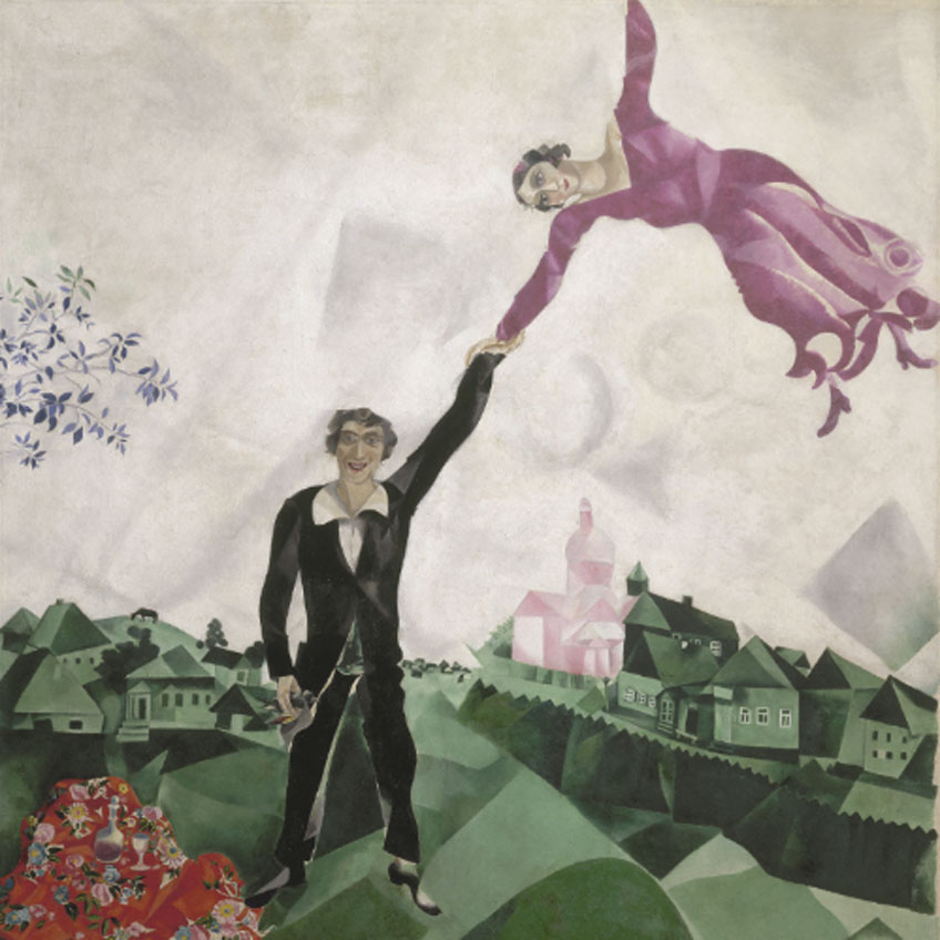 Marc Chagall. El paseo, 1917. © Museo Estatal Ruso, San Petersburgo © VEGAP, Madrid, 2019. - Chagall ®