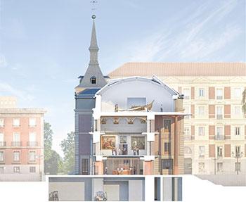 Museo del Prado. Proyecto de ejecución de rehabilitación y adecuación museística del Salón de Reinos Sección transversal U.T.E. Foster & Partners + Rubio Arquitectura