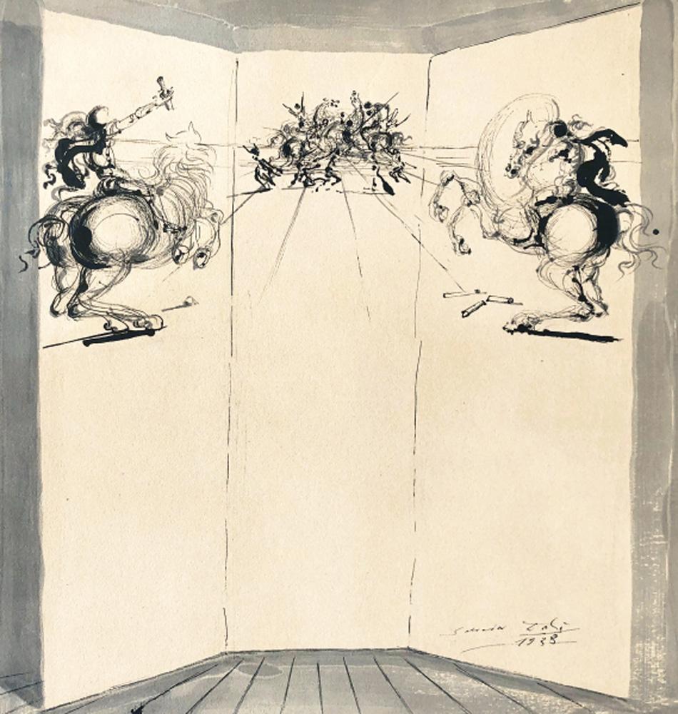 Salvador Dalí. Le combat des chevaliers, 1938. Galería Jordi Pascual