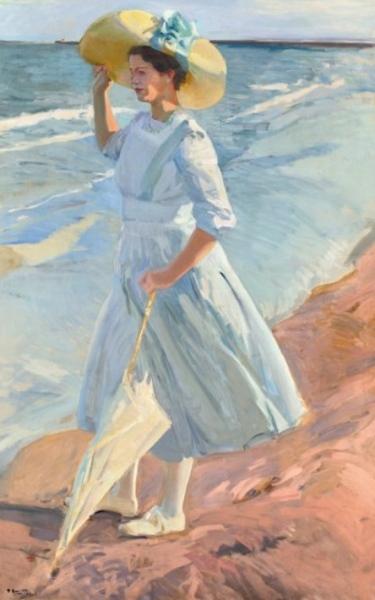 Joaquín Sorolla. Elena en la playa, 1909. Depósito de colección privada  en el Museo Sorolla, Madrid