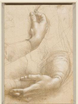 Leonardo da Vinci. Braccia e mani femminil i ; Testa maschile in profilo, hacia 1474-1486. Royal  Collection Trust / © Her Maje sty Queen Elizabeth II 2019