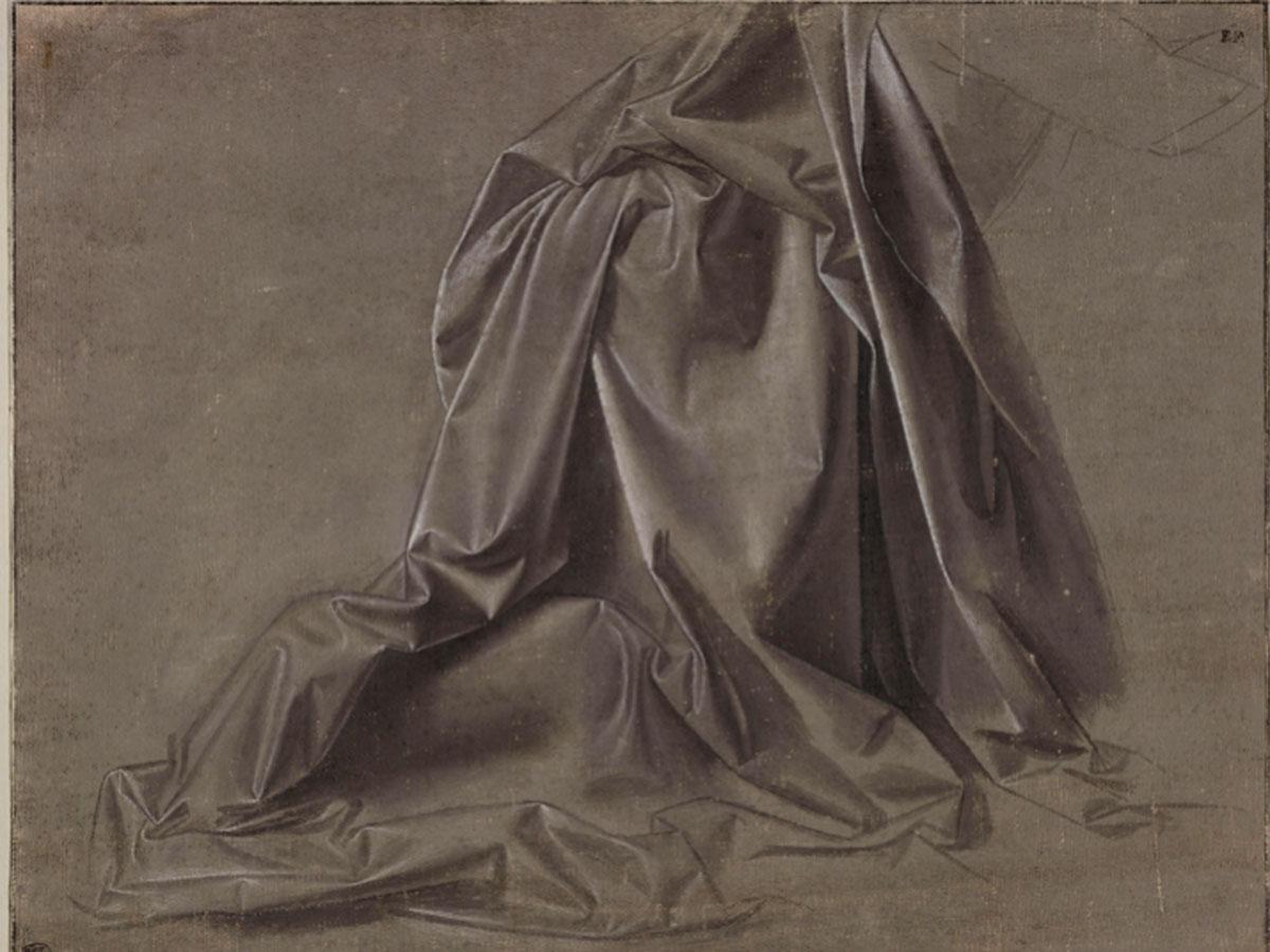 Leonardo da Vinci. Panneggio di una figura inginocchiata, vista di profilo, hacia 1470-1475. © RMN- Grand Palais (Musée du Louvre) / Michel Urtado