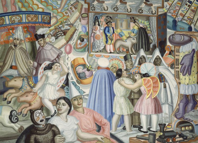 Maruja Mallo. Kermés, 1928.Castres-Musée Goya, Musée d'art hispanique © Centre Pompidou, MNAM-CCI, Dist. RMN-Grand Palais / Jacques Faujour © Maruja Mallo, VEGAP, Málaga, 2017