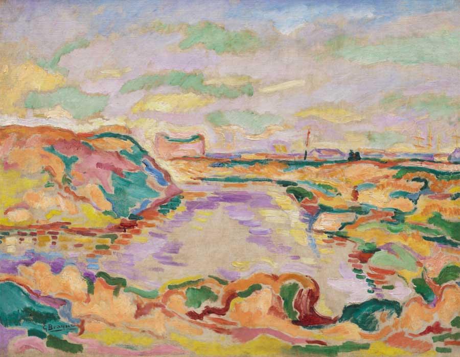 Georges Braque Paisaje cerca de Amberes (Paysage près d'Anvers), 1906. © Georges Braque, VEGAP, Bilbao, 2018 Foto: © Solomon R. Guggenheim Foundation, Nueva York (SRGF