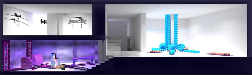 Render de la exposición. Vista sección: Izquierda abajo: instalación de Fru*Fru y vídeos de Claudia Maté. Izquierda arriba: obras de June Crespo. Derecha: Eva Fábregas.