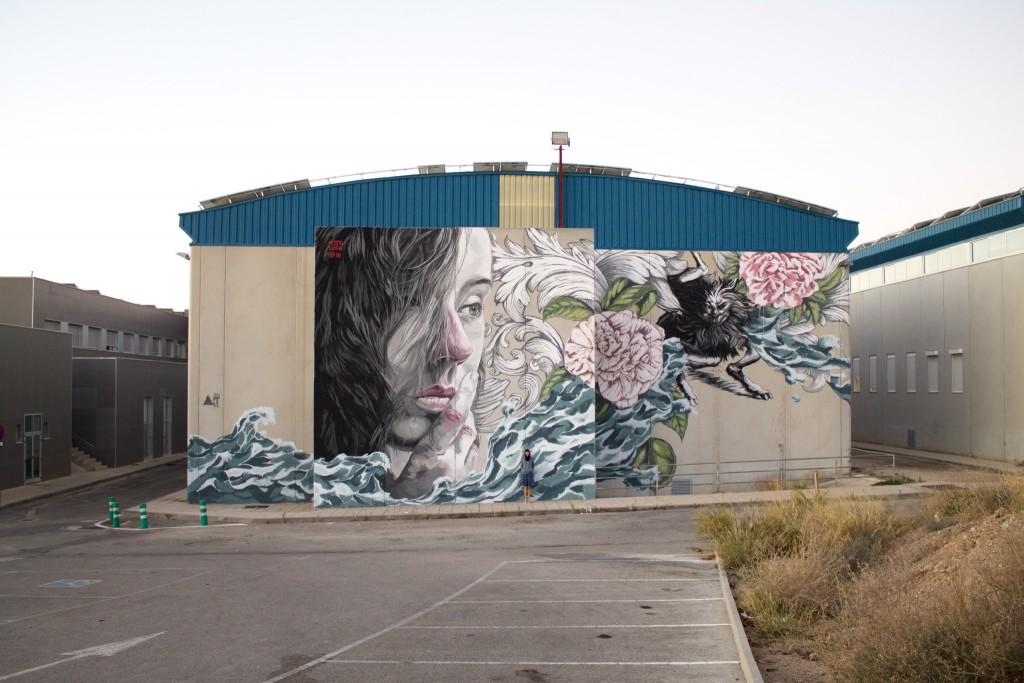 Lula Goce. Mural en la Universidad de Murcia para el proyecto Tuenti Urban Art Project
