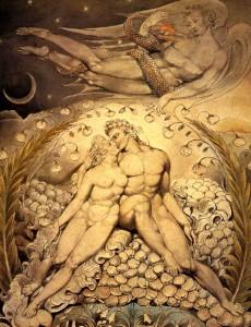 William Blake. Satán mirando a Adan y Eva
