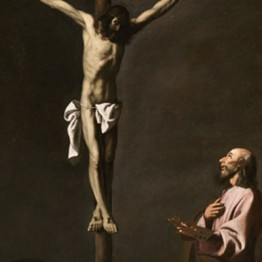 Francisco de Zurbarán. Saint Lucas as a Painter, before Christ on the Cross, ca 1660. Museo Nacional del Prado