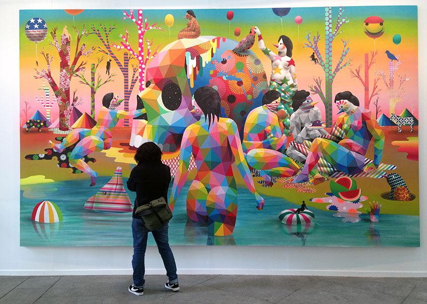 """Cartel Art Madrid'18 """"El Lago del Deseo"""", Okuda San Miguel"""