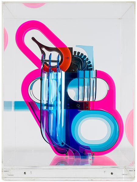 Estampa 2017. Manuel Ayllón. La máquina, 1973. Metacrilato y acero inoxidable. 50,8 x 37,9 x 41,3 cm. Galería José de la mano