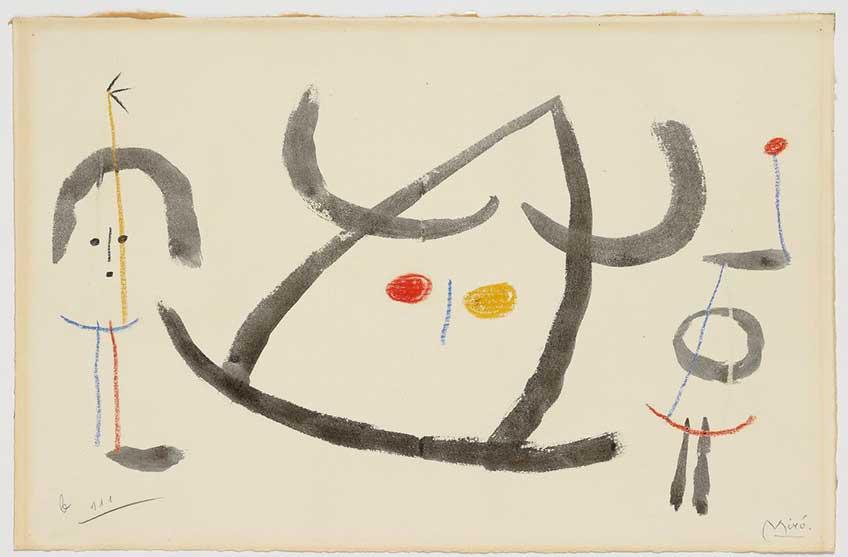 Joan Miro_L'enfançe d'Ubu_Acuarela, lápices de colores, circa 1953