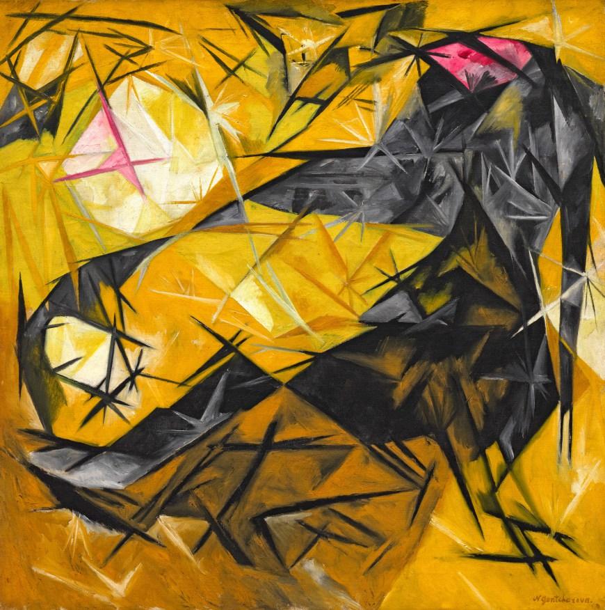 Natalia Goncharova. Cats (rayist percep.[tion] in rose, black, and yellow), 1913. SOlomon R. Guggenheim Museum