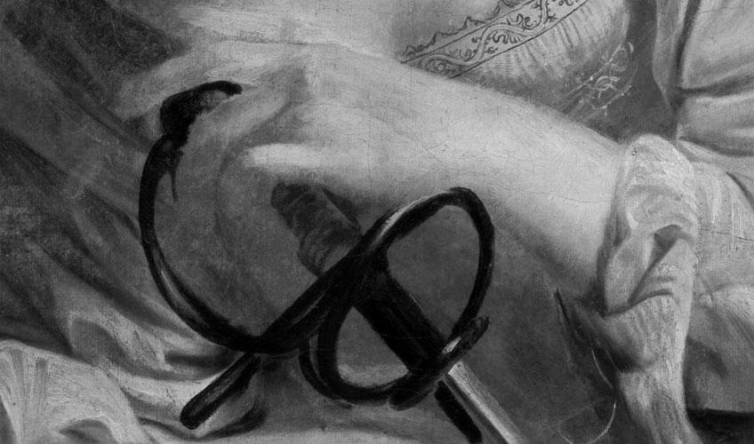 Detalle de la reflectografía infrarroja de Santa Catalina de Alejandría, de Caravaggio. Museo Nacional Thyssen-Bornemisza