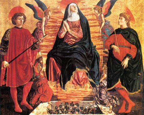 Andrea del Castagno. Asunción de la Virgen con san Julián y san Miniato, 1449-1450